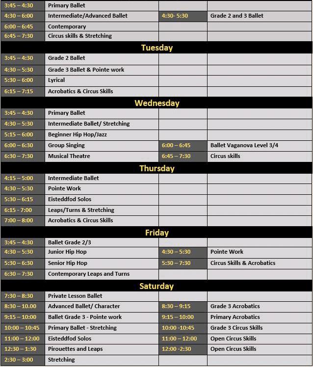 QDPA Timetable